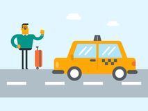 Young caucasian man with a suitcase hitchhiking. Young caucasian white man with s suitcase catching a taxi car by waving hand. Hitchhiking man trying to stop a Royalty Free Stock Photography