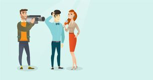TV interview vector cartoon illustration. Young caucasian white reporter with a microphone making an interview with an asian businessman. Operator filming an Royalty Free Stock Photos