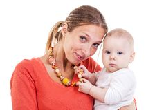 Young Caucasian woman and baby boy Royalty Free Stock Image