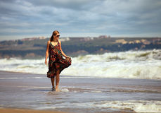 Young Caucasian woman at a beach Royalty Free Stock Image