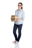 Young caucasian woman with books Stock Images