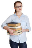 Young caucasian woman with books Stock Image