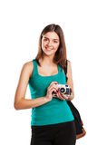 Young caucasian woman with camera isolated over Stock Photo