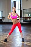 Young caucasian woman dancer in pink clothes Stock Images