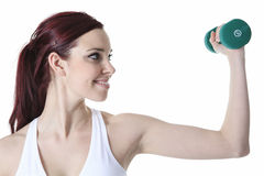 Young caucasian woman doing fitness exercises Royalty Free Stock Photo