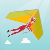 Young caucasian woman flying on hang-glider. Sportswoman taking part in hang gliding competitions. Woman having fun while gliding on deltaplane in sky. Vector Stock Photo
