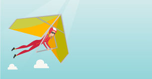 Young caucasian woman flying on hang-glider. Sportswoman taking part in hang gliding competitions. Woman having fun while gliding on deltaplane. Vector flat Royalty Free Stock Photography