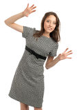 Young caucasian woman with hands up Stock Photos
