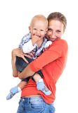 Young Caucasian woman and her baby son over white Stock Photos