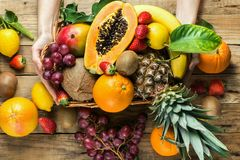 Free Young Caucasian Woman Holds In Hands Box With Raw Organic Tropical And Seasonal Summer Fruits Berries. Halved Papaya Coconut Mango Royalty Free Stock Image - 139756876