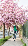 Young caucasian woman is jumping under the flowering sakura tree Stock Photos