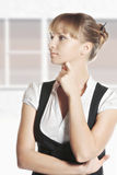 Young caucasian woman looking sideways Royalty Free Stock Photo