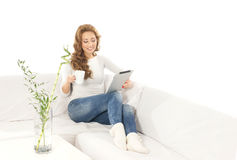 A young Caucasian woman in a modern interior Royalty Free Stock Images