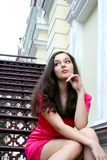Young caucasian woman near the theatre Stock Images