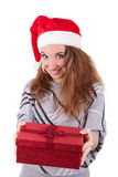 Young caucasian woman offering a gift Stock Photography