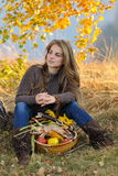 Young caucasian woman outdoor in autumn Royalty Free Stock Photos