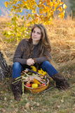 Young caucasian woman outdoor in autumn Royalty Free Stock Image