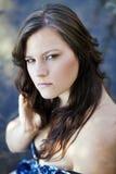 Young Caucasian Woman Outdoor Portrait River Dress Stock Images