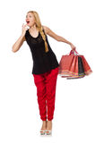 The young caucasian woman with plastic bags isolated on white Royalty Free Stock Photos