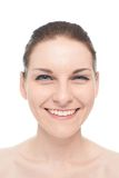 Young caucasian woman portrait isolated. Young caucasian woman portrait with an openly smiling, positive and happy facial expression, isolated over the white Stock Images