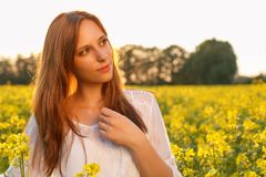 Young caucasian woman is posing in the field of royalty free stock photography
