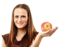 Young caucasian woman with red apple Stock Image