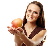 Young caucasian woman with red apple Royalty Free Stock Image