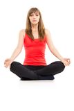 Young caucasian woman relaxing in yoga pose Royalty Free Stock Photography