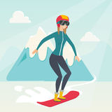 Young caucasian woman snowboarding. Royalty Free Stock Images