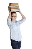 Young caucasian woman (student) with books Stock Images