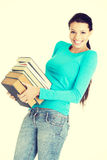 Young caucasian woman student with books Royalty Free Stock Image