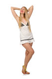 The young caucasian woman in sundress isolated on white Stock Photography