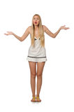 The young caucasian woman in sundress isolated on white Royalty Free Stock Photography