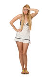 Young caucasian woman in sundress isolated on white Stock Image