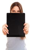Young caucasian woman with tablet PC Stock Photography