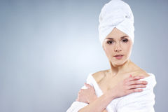 A young Caucasian woman after taking a bath Royalty Free Stock Photo