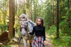 Young caucasian woman taking care of her horse, walking in forest. Stock Images
