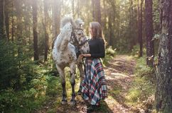 Young caucasian woman taking care of her horse, walking in forest. Royalty Free Stock Photos
