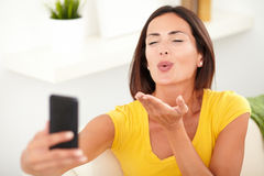 Young caucasian woman taking a selfie Royalty Free Stock Photography