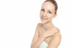 Young Caucasian woman to face the hand Royalty Free Stock Photo