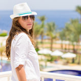 Young caucasian woman in the tropical resort hotel Stock Photos