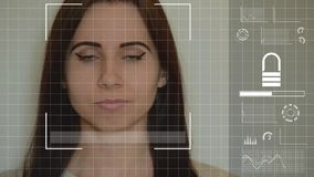 Young caucasian woman uses facial recognition system. Concept of modern technologies, potential problems and some imperfections of using it stock video footage
