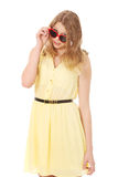 Young caucasian woman wearing skirt and sunglasses Royalty Free Stock Images