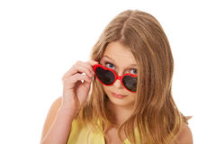 Young caucasian woman wearing sunglasses Royalty Free Stock Photography