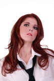 Young caucasian woman white shirt and tie Stock Images