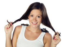 Young caucasian woman in white top Stock Photo
