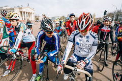 Young caucasian women cyclists in sportswear for cycling at open Stock Images