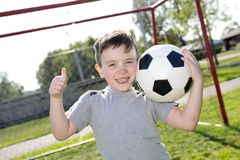 Young caucassian soccer player football Stock Photo