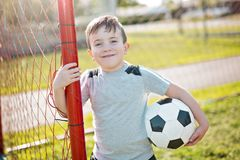Young caucassian soccer player football Stock Images