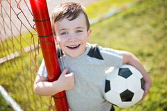 Young caucassian soccer player football Stock Photos